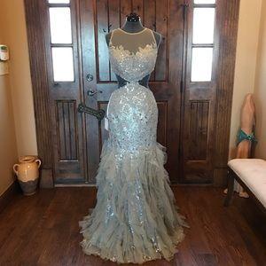JOVANI Silver & Gray Glitter Cutout Gown! #89957